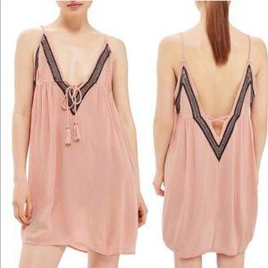 TOPSHOP Blush Pink Boho Festival Mini Dress